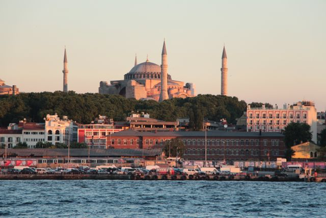 Topkapi Palace with the sunset reflection